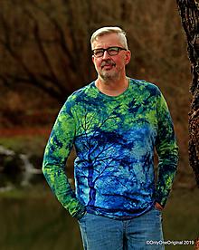 Tričká - Pánske tričko batikované, maľované NAOPAK  - 11370605_