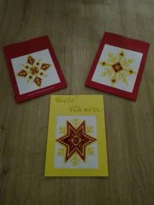 Drobnosti - Vianočná pohľadnica vyšívaná hviezda - 11373814_