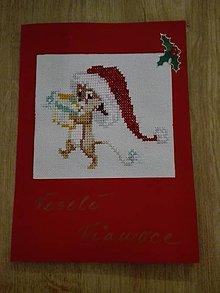 Drobnosti - Vianočná pohľadnica vyšívaná miška - 11374009_