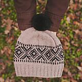 Čiapky - béžová čiapka s nórskym vzorom ~ pánska - 11372736_