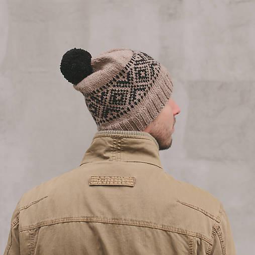 béžová čiapka s nórskym vzorom ~ pánska