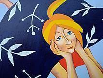 Obrazy - Dievča pod snehovou perinou /print na plátne/ - 11371962_