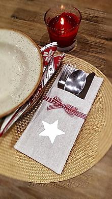 Úžitkový textil - Puzdro na príbor vianočné prestieranie - 11373333_