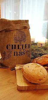 Úžitkový textil - ChleBag - Ľanové voskované vrecko na chlieb/pečivo (Čierna strom) - 11373174_