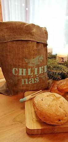 Úžitkový textil - ChleBag - Ľanové voskované vrecko na chlieb/pečivo (Mint vtáčik) - 11373169_