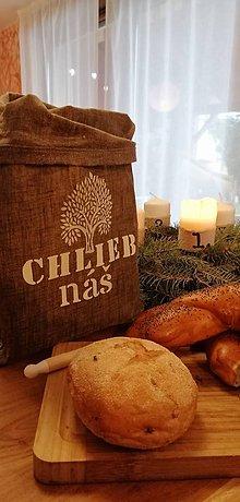 Úžitkový textil - ChleBag - Ľanové voskované vrecko na chlieb/pečivo (Biela strom) - 11373199_