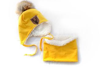 Detské súpravy - Zimný set Jeleň žltý - 11373692_