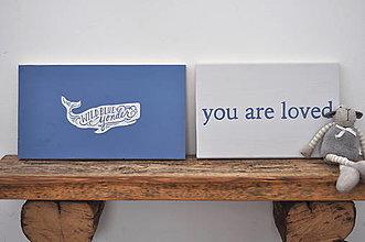 Tabuľky - Drevená tabuľa Modrá Veľryba, set 2ks - 11374149_