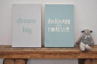 Tabuľky - Drevená tabuľa Dream Big, set 2ks - 11374155_
