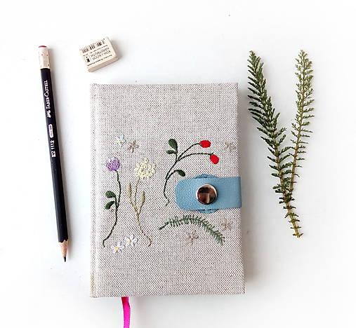 Vyšívaný zápisník Letné kvety a plody - A6