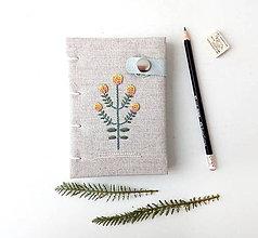 Papiernictvo - Vyšívaný zápisník Žltý kvet - A6 - 11370734_