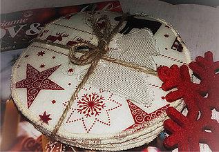 Úžitkový textil - Vánoční podšálky sobíci na vínové - 11370376_