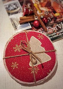 Úžitkový textil - Vánoční podšálky červené - 11370398_