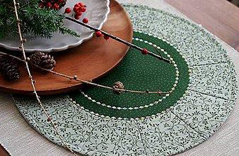 Úžitkový textil - prestierania zelené kruhové - 11370716_