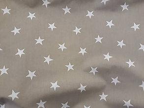 Textil - Hviezdičky biele na béžovej š.150cm - 11370519_