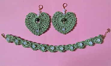 Sady šperkov - Háčkovaná súprava šperkov opalit - 11372860_