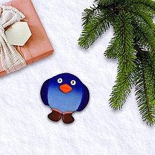Magnetky - FIMO vianočná magnetka tučniak  (čižmy) - 11372323_