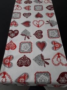 Úžitkový textil - Vianočná štóla - Srdiečka - 11376716_