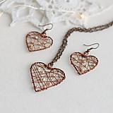 Sady šperkov - srdiečko s perličkami náušnice+prívesok - 11374770_