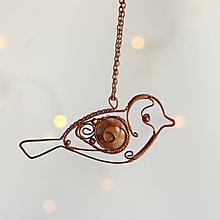 Náhrdelníky - tepaný medený vtáčik-prívesok - 11374807_