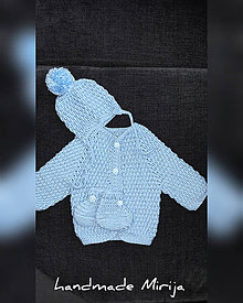 Detské súpravy - Hačkovaná detská súprava (Modrá) - 11375398_