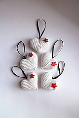 Dekorácie - Vianočné ozdoby | Srdiečka | na zavesenie | veľké | Béžová  | svetlá | sada 5ks - 11374556_