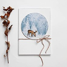 Papiernictvo - Vianočná pohľadnica, srnky - 11375282_