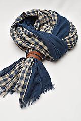 Doplnky - Pánsky šál s koženým remienkom - 11374413_