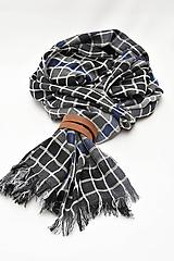 Doplnky - Pánsky šál s koženým remienkom - 11374459_