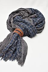 Doplnky - Pánsky šál s koženým remienkom - 11374469_
