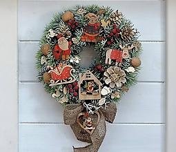 Dekorácie - Vianočný retro veniec - 11376207_