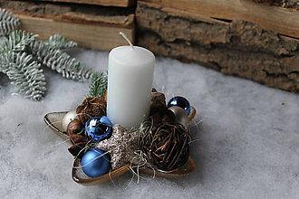 Dekorácie - vianočný svietnik _ modrý - 11377914_