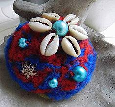 Odznaky/Brošne - plstená morská brož kvietok - 11375287_