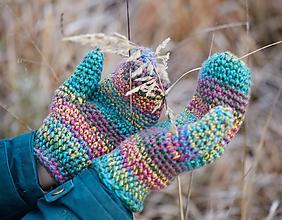 Rukavice - Modro-zeleno-žlto-ružové palčiaky - 11375183_