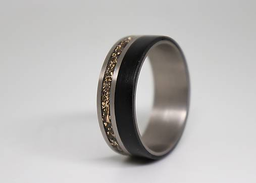 Titanový prsteň & Bronz & Eben