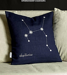 Úžitkový textil - Obliečka na vankúš - Znamenie STRELEC (40x40cm - Modrá) - 11377602_