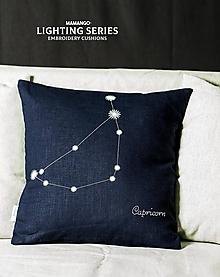 Úžitkový textil - Obliečka na vankúš - Znamenie KOZOROŽEC (40x40cm - Modrá) - 11377762_