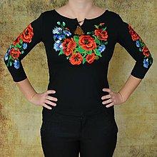 Tričká - Folklórne, vyšívané, dámske tričko, deva, 3/4 rukáv, čierne, S,M,L,XL - 11375598_