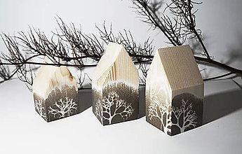 Dekorácie - Drevené domčeky hnedé - 11376205_