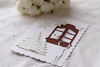 Papiernictvo - Vianočná pohľadnica-jeleň a vtáčiky - 11376395_