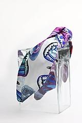 Ozdoby do vlasov - Čelenka biela s modro fialovým vzorom - 11378204_