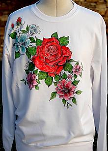 Mikiny - Maľovaná mikina Vintage Rose - 11378271_
