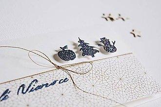 Papiernictvo - Vianočný pozdrav - modré jabĺčko, stromček, snehuliak - 11379938_