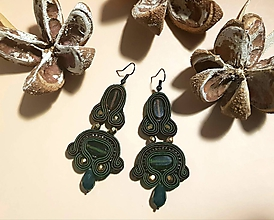 Náušnice - Olivová elegancia - Ručne šité šujtášové náušnice - Soutache earrings - 11379902_