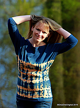 Dámske šité tričko maľované, batikované SLNKO-VODA-VZDUCH