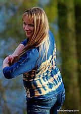 Tričká - Dámske šité tričko maľované, batikované SLNKO-VODA-VZDUCH - 11378305_
