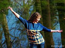 Tričká - Dámske šité tričko maľované, batikované SLNKO-VODA-VZDUCH - 11378319_