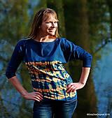 Tričká - Dámske šité tričko maľované, batikované SLNKO-VODA-VZDUCH - 11378335_