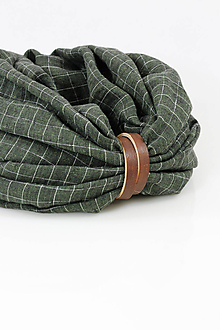Doplnky - Pánsky dvojitý zelený kockovaný nákrčník z exkluzívneho ľanu s remienkom - 11379124_