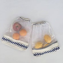 Úžitkový textil - nákupné vrecká sieťka modré ľudové sada 2 ks - 11380140_